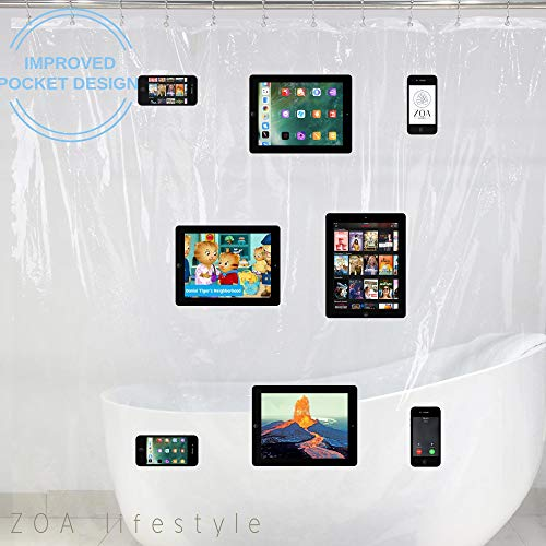 Shower Curtain with NO SAG Pockets for iPhone and iPad | Use Your Phone, Tablet, Kindle, Baby Monitor in the Shower with Our Waterproof and Clear Curtain | Manipulate Touchscreens Safely in the Shower