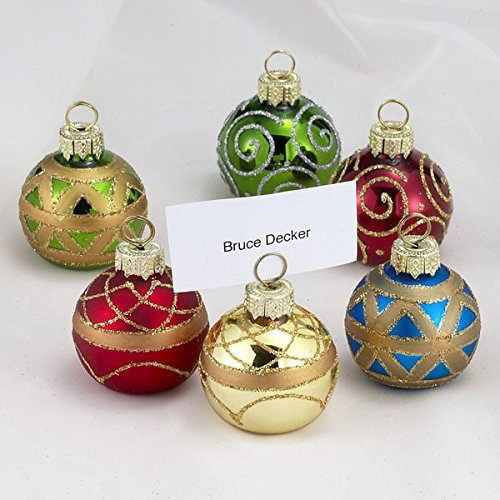 Kurt Adler Glass Place Card Holder Ornament, 1.57-Inch, Set of - Card Holders Christmas Place