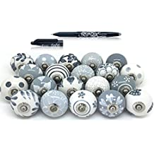 Set of 25 Gray & White hand painted ceramic pumpkin knobs cabinet drawer handles pulls.Pilot Frixion Roller Ball Pen,Free