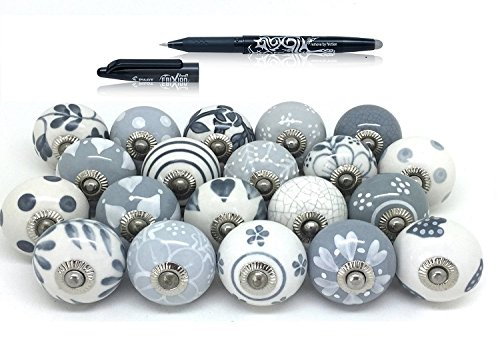 Set of 25 Gray & White hand painted ceramic pumpkin knobs cabinet drawer handles pulls.Pilot Frixion Roller Ball (Ceramic Ball Cabinet Knob)