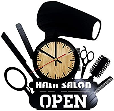 ForLovedGifts Hair Salon Beauty Design Vinyl Wall Clock – handmade gift for any occasion – unique