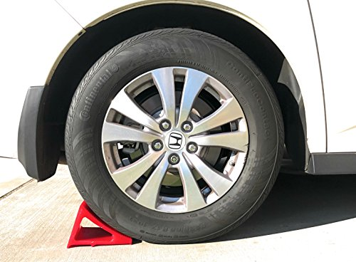 Tire & Wheel Chock - Ideal Camping Accessory for RV Motorhome, Trailer, Truck, Motorcycle & Car. Weatherproof, Outdoor Grade, Polyurethane Better Than Rubber or Plastic, 5 Year Warranty, 2 Pack Red by Elasco Products (Image #4)