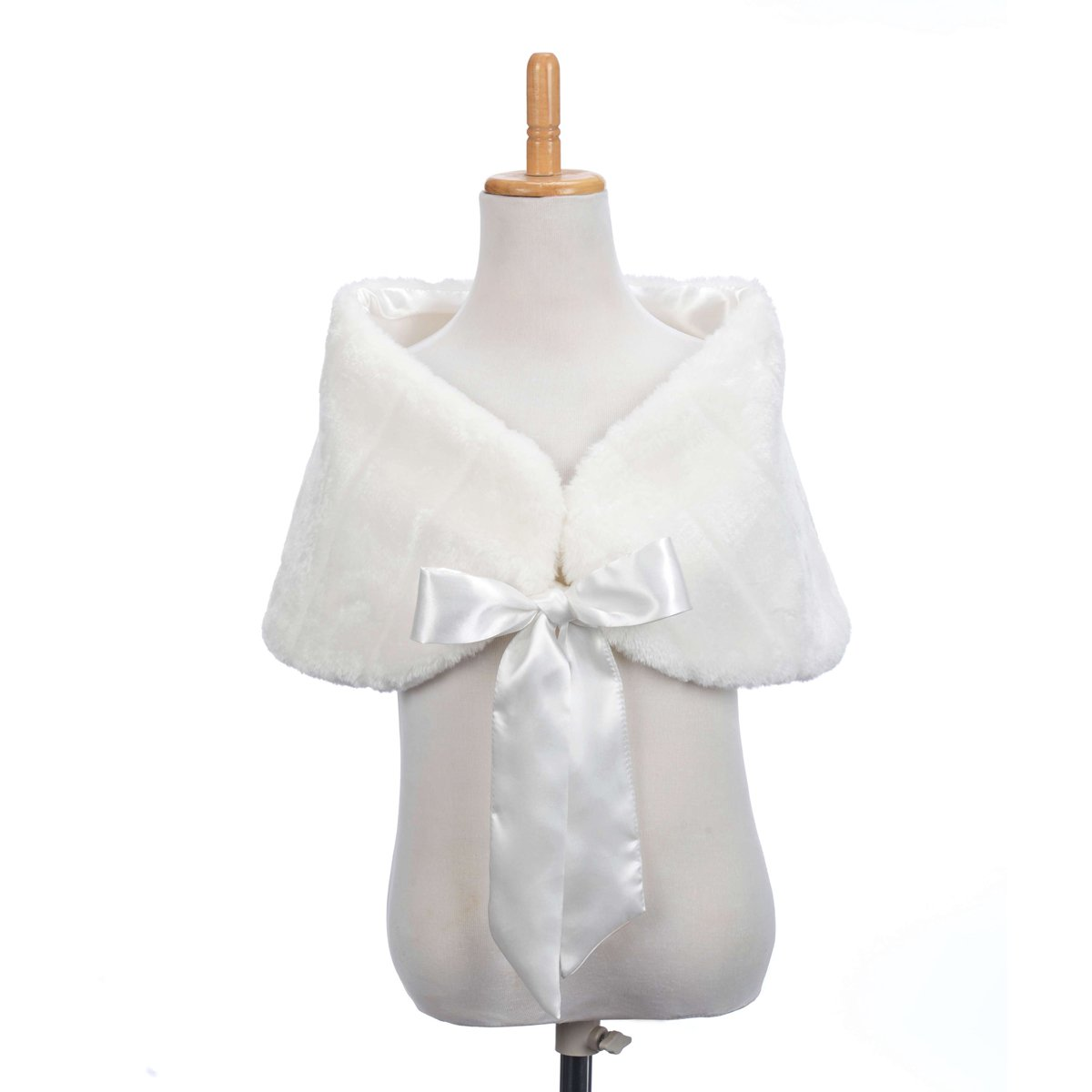 Topwedding Little Girl Faux Fur Shawl Stole Wedding Party Wrap for KID, Ivory, L
