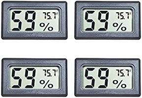 Veanic 4-Pack Mini Digital Electronic Temperature Humidity Meters Gauge Indoor Thermometer Hygrometer LCD Display...