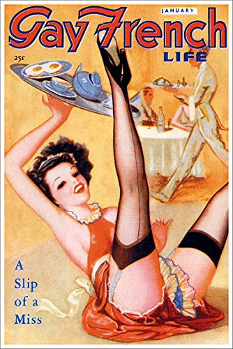 January 1939 Gay French Life A Slip of a Miss Vintage Classic Pinup Girl Retro Cover Art Poster - 24x36