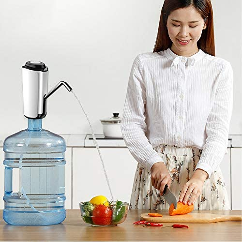 電気飲料水ポンプポータブル、ウォーターディスペンサーUSB充電付き電気水差しポンプキッチン/家庭/オフィスで2〜5ガロンのボトルを使用して,白