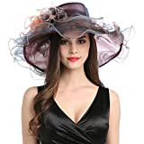 Women's Organza Church Fascinator Cap Kentucky Derby Wide Brim Tea Party Wedding Summer Sun Hat