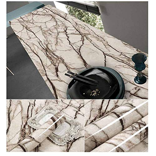 (Brown Granite Contact Paper for Countertops Cream Brown Marble Texture, 23.62