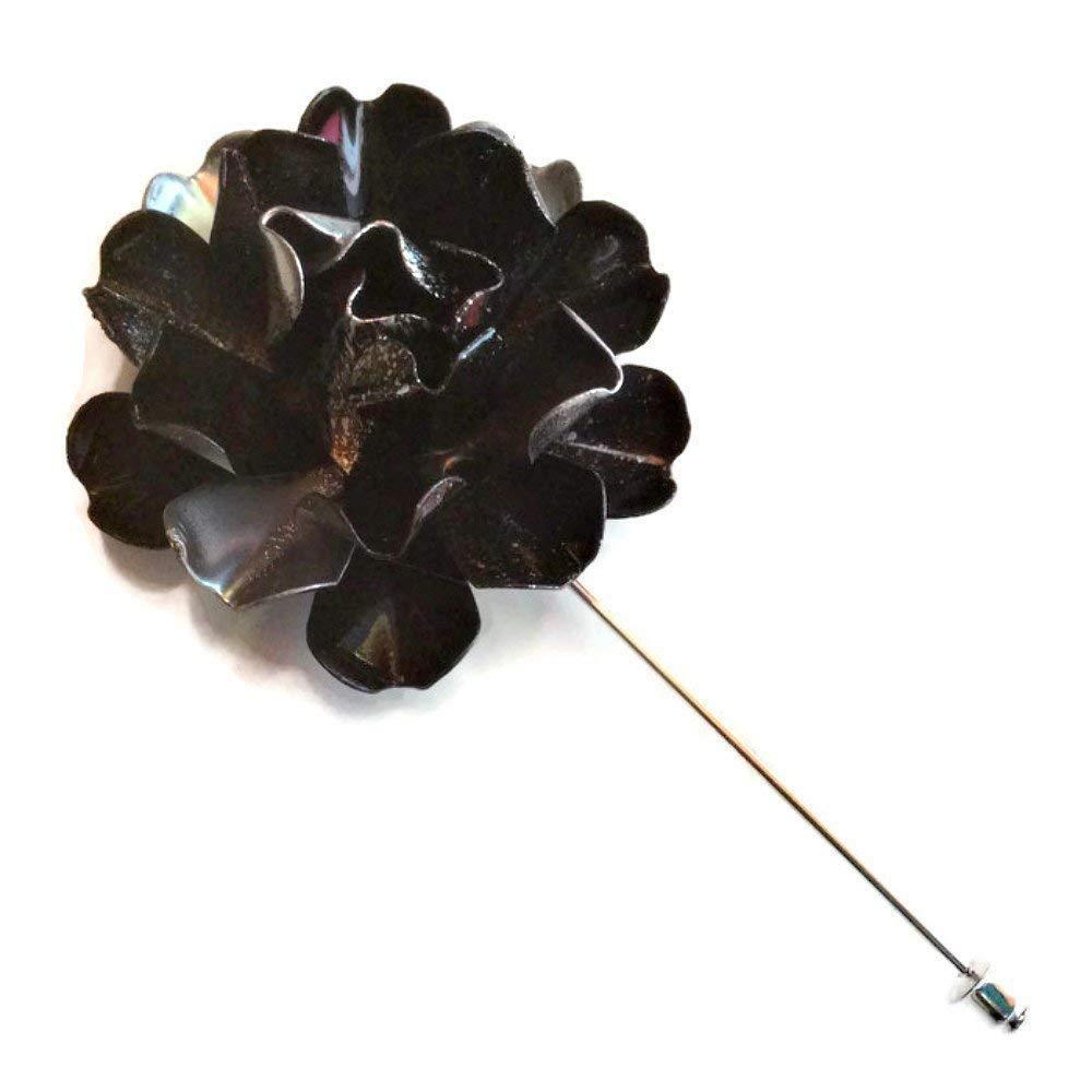 B01GBIR0WU Black and Silver Tone Metal Enamel Flower Lapel Pin 51w0pUUVJkL