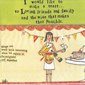 Ideal Home Range 20 Count Boston International 3-Ply Paper Cocktail Napkins, Curly Girl Design Making a Toast