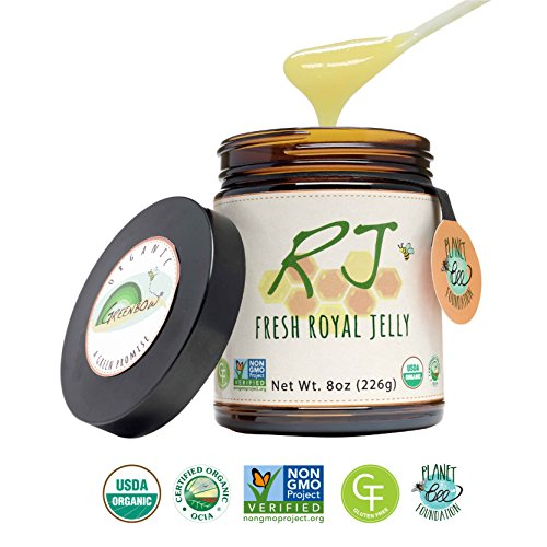 GREENBOW Organic Fresh Royal Jelly - 100% USDA Certified Organic, Pure, Gluten Free, Non-GMO Royal Jelly - One of the Most Nutrition Packed Diet Supplements - Highest Quality Royal Jelly - (226g) by Greenbow