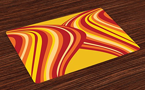 Ambesonne Retro Place Mats Set of 4, Wavy Vertical Stripes Entwined Curvy Abstract Artwork Graphic Illustration Art, Washable Fabric Placemats for Dining Room Kitchen Table Decor, Yellow Orange Red