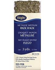 Wrights 117-225-928 Medium Metallic Rick Rack, Antique Gold, 3-Yard