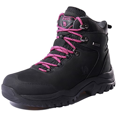 CAMEL CROWN Women's Waterproof Hiking Boots Outdoor Lightweight Work Safety Boots,Black,6 US by CAMEL CROWN