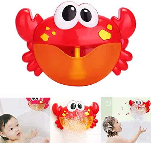 Jujuism Baby Bath Bubble Toy Crab Bubble Maker Bubble Blower Bubble Machine with 12 Nursery Rhyme Bathtub Bubble Toys for Baby Children Kids