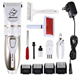 Dog Grooming Clippers - Cordless Quiet Pet Dog Hair Clippers Grooming kit with Slicker Pet Grooming Brush - Comb Attachments - Nail Kits - Professional Hair Clipper For Dogs Cats Pets