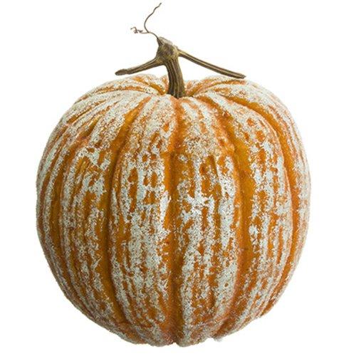 12.5''Hx11''W Artificial Beaded Pumpkin -Orange (pack of 2) by SilksAreForever