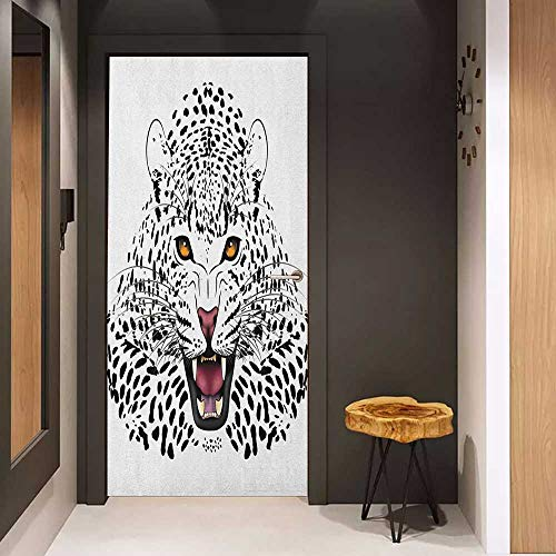 Onefzc Soliciting Sticker for Door Safari Leopard Illustration Predator Angry Silhouette Endangered Species Golden Eyes Mural Wallpaper W38.5 x H77 Black White Amber