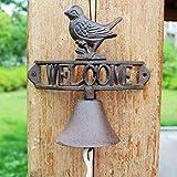 GLJJQMY Wrought Iron doorbell European and American Industrial Style Retro Hand Bell doorbell Wrought Iron Clock Garden Home Wall Decoration 21.7x11.6x21cm etro doorbell