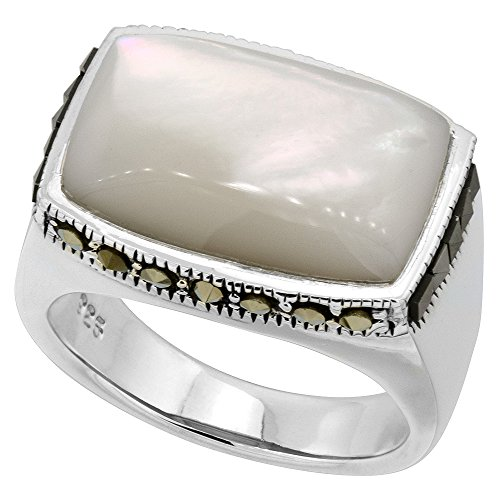 Sterling Silver White Mother of Pearl Ring Rectangular Marcasite Accent, size 8