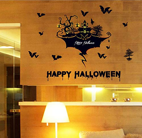 Zfwsbhd Happy Halloween Wall Sticker Bat Letters Adornment Wall Removable Glass Window Room Decoration Party Home DIY Decor -