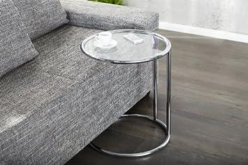 Dunord Design Beistelltisch Couchtisch Rund Glas Und Chrom Plate Art