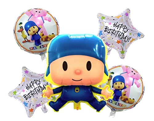 Pocoyo & Friends Balloon Set - Happy Birthday Party Decorations - Boys or Girls Party Decor - 5 Balloons & Ribbon Included - Bundle by Jolly Jon ®
