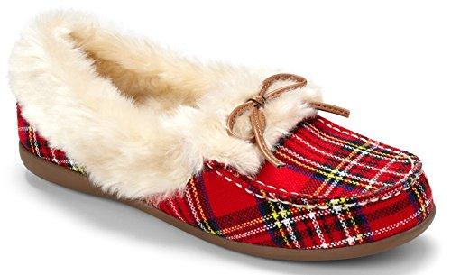 Vionic Womens Cozy Juniper Moc Toe Shearling Slipper Shoes, Red Plaid, US9.5
