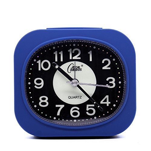 OSMOFUZE Mini Fluorescent Bedroom Alarm Clock, Silent Non Ticking Analog Small Lightweight Quartz Alarm Clock with Light, Battery Operated (Navy Blue, Rectangular) (Fluorescent Alarm Clock)