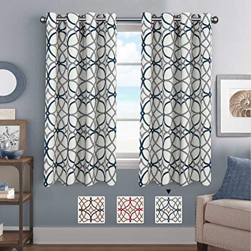 H.VERSAILTEX Thermal Insulated Blackout Curtains Energy Smart Saving Easy Care Grommet Panels for Living Room- 52 inch Width by 63 inch Length- Set of 2 Panels- Grey and Navy Geo ()
