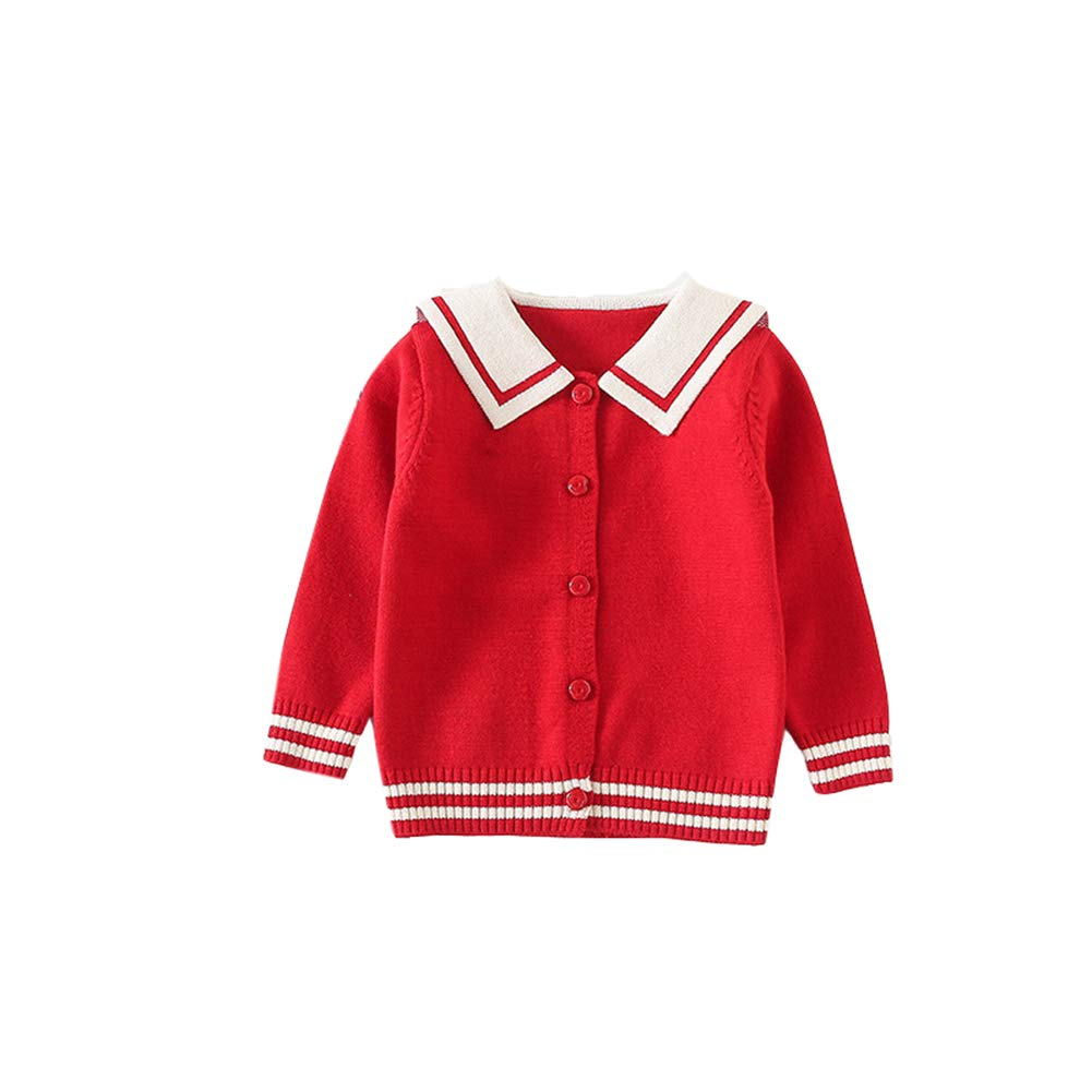 ALLAIBB Toddler Girl Sweater Cardigan Knit Outerwear Navy Style Lapel Jacket