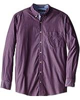 Nautica Men's Slim Fit Long Sleeve striped Button Down Shirt Sailor red, XL