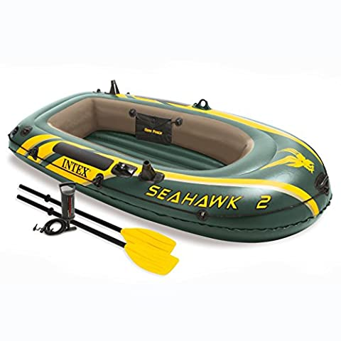 Intex Seahawk 2, 2-Person Inflatable Boat Set with French Oars and High Output Air Pump - Seahawk 200 Inflatable Boat