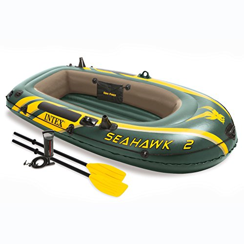 Inflatable Person 2 Canoe - Intex Seahawk 2, 2-Person Inflatable Boat Set with French Oars and High Output Air Pump