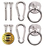 Premium Hammock Hooks by Amerigo - Best Hanging Kit for inside relaxation - Heavy Duty - Set of Round Pad Eyes, Spring Snap Hooks and Lag Screws made from Stainless Steel for your Perfect Experience!