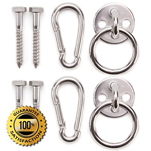 Hammock Hanging Hardware (Premium Hammock Hooks by Amerigo - Best Hanging Kit for inside relaxation - Heavy Duty - Set of Round Pad Eyes, Spring Snap Hooks and Lag Screws made from Stainless Steel for your Perfect Experience!)