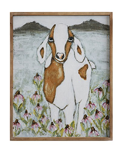 Creative Co-Op DA7700 Gallery Framed Goat Canvas Wall Decor