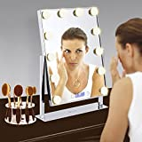 Makeup Mirror Large 12 Big Led Bulbs (2Extra Bulbs) Hollywood Style Vanity Mirror with 5x Magnifier and Clock -Tabletops 10 Hole Oval Makeup Brush Holder Drying Rack Touch Screen Adjustable Brightness