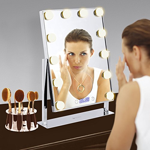 12 Big Led Bulbs (2Extra Bulbs) Hollywood Style Vanity Mirror with 5x Magnifier and Clock -Tabletops 10 Hole Oval Makeup Brush Holder Drying Rack Touch Screen Adjustable Brightness (Oval 1 Hole)