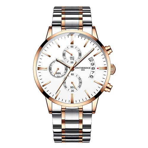 Mens Watches Stainless Steel Waterproof Date Analog Quartz Fashion Business Wrist Watches for Men