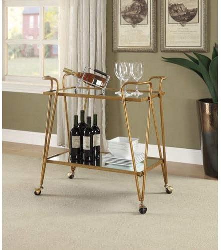 Linon Rosa Gold Mid-Century Bar Cart