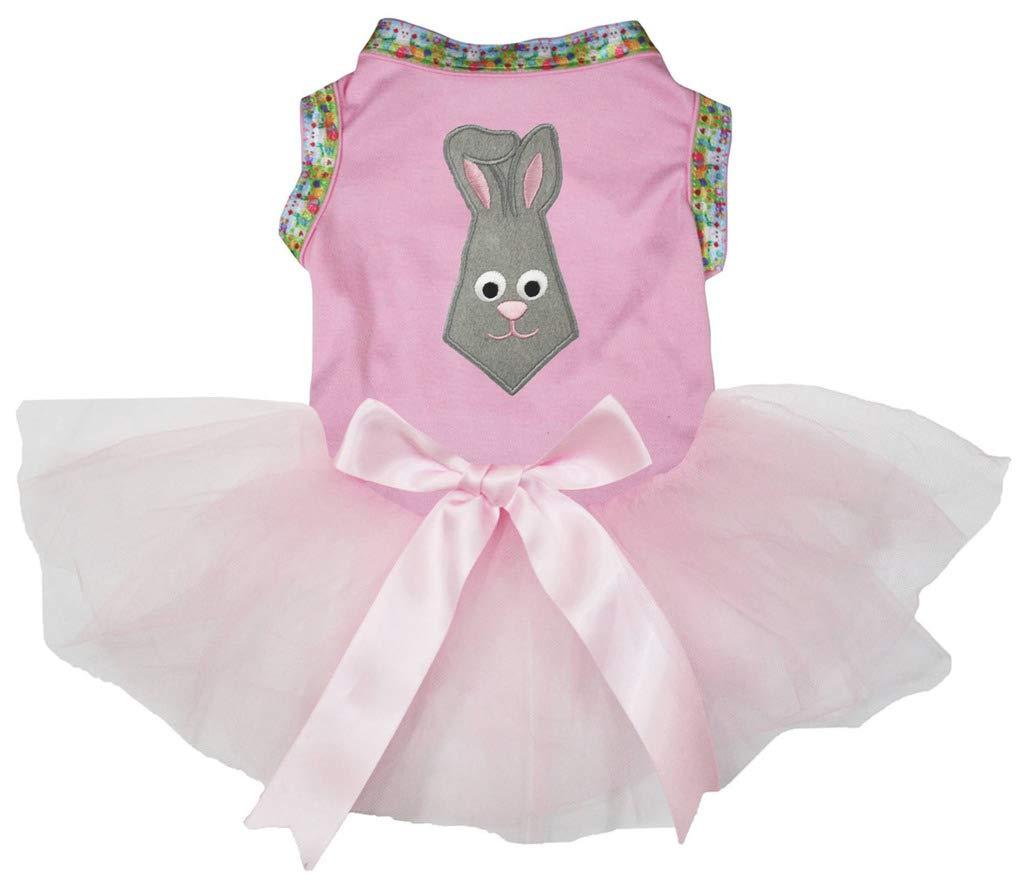 Petitebella Grey Bunny Necktie Cotton Shirt Tutu Puppy Dog Dress (Pink/Pink, XXX-Large) by Petitebella