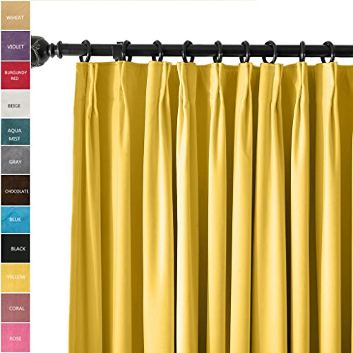Goblet Pleat Drapery - ChadMade Pinch Pleat 42W x 84L Room Darkening Velvet Curtain Drapery Panel For Traverse Rod or Track, Living room Bedroom Meetingroom Club Theater Patio Door (1 Panel)