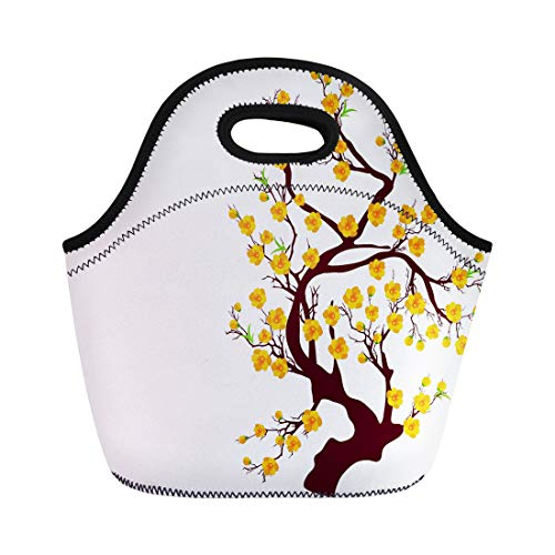 Semtomn Lunch Bags Pink Cherry Blossom for Chinese New Year and Lunar Neoprene Lunch Bag Lunchbox Tote Bag Portable Picnic Bag Cooler Bag