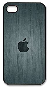 LZHCASE Personalized Protective Case for iPhone 4/4S - Apple Logo Wood Look