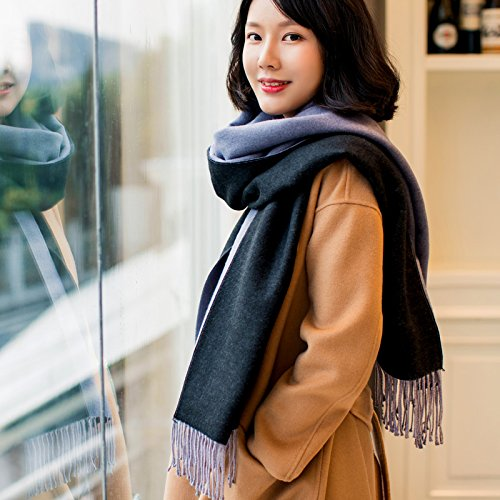 MDRW-Winter Scarves Female Students In Autumn And Winter Scarves Extended Leisure All-Match Thickened Warm Shawl,D