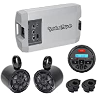 Rockford Fosgate TM400X2AD 400w 2-Ch Amp+Kicker Speakers+Receiver ATV/UTV/RZR