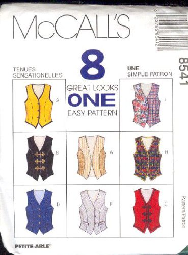 McCall's Sewing Pattern 8541 Misses' Vests - 8 Styles, Size C (10 12 14)