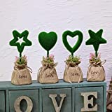 Heart & Star Decorative Artificial Topiary Set, Linien Base, Fake Plant Letters