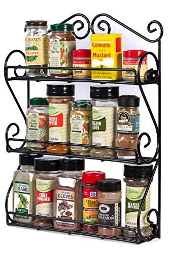(Unum 3-Tier Scroll Wall Mount Spice Rack - Large Sturdy Hanging Organizer for Kitchen Storage - Handcrafted Powder-Coated Black Metal - 12